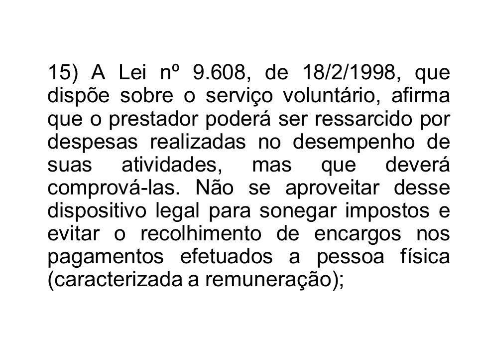 15) A Lei nº 9.608, de 18/2/1998, que dispõe sobre o serviço voluntário, afirma que o prestador poderá ser ressarcido por despesas realizadas no desem