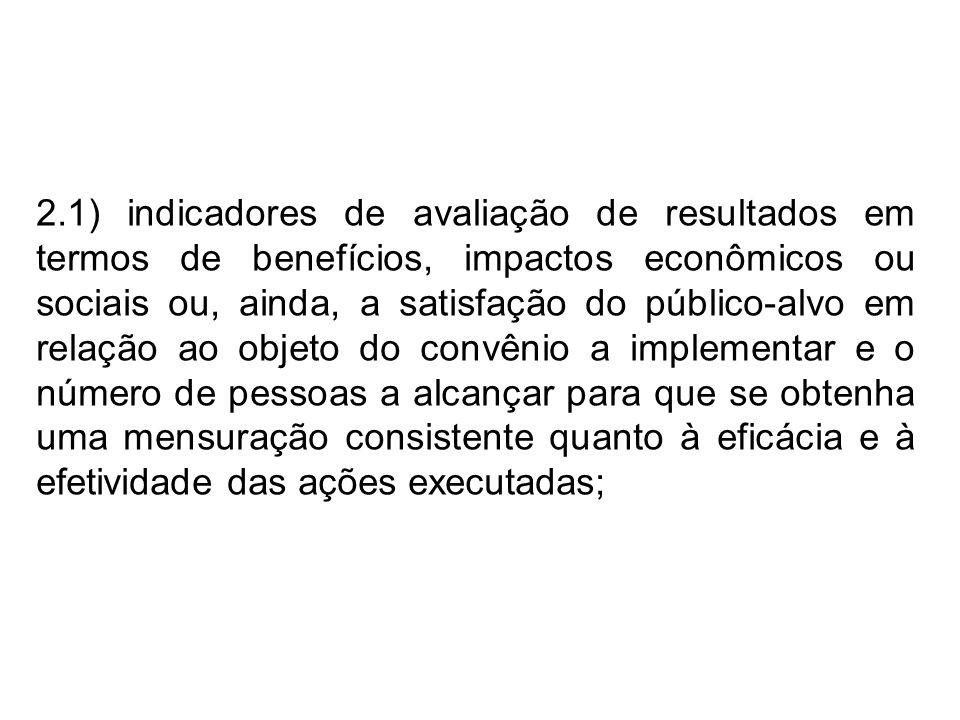 2.1) indicadores de avaliação de resultados em termos de benefícios, impactos econômicos ou sociais ou, ainda, a satisfação do público-alvo em relação