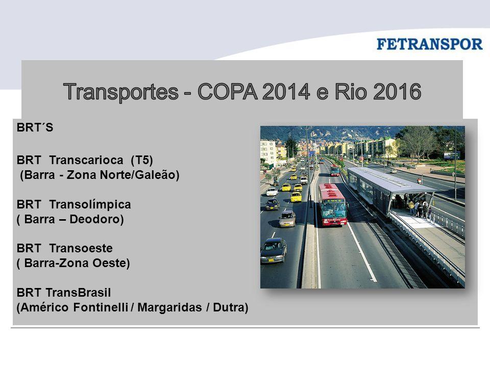 BRT´S BRT Transcarioca (T5) (Barra - Zona Norte/Galeão) BRT Transolímpica ( Barra – Deodoro) BRT Transoeste ( Barra-Zona Oeste) BRT TransBrasil (Améri