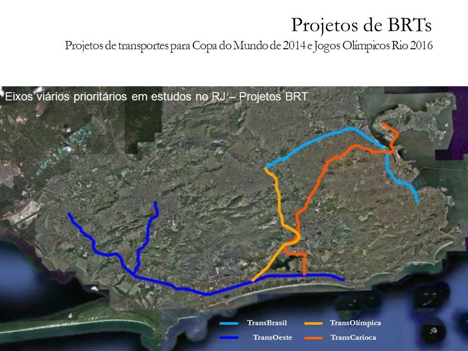 TransOeste TransOlímpica TransCarioca TransBrasil Eixos viários prioritários em estudos no RJ – Projetos BRT Projetos de BRTs Projetos de transportes