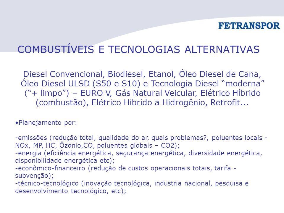 COMBUSTÍVEIS E TECNOLOGIAS ALTERNATIVAS Diesel Convencional, Biodiesel, Etanol, Óleo Diesel de Cana, Óleo Diesel ULSD (S50 e S10) e Tecnologia Diesel