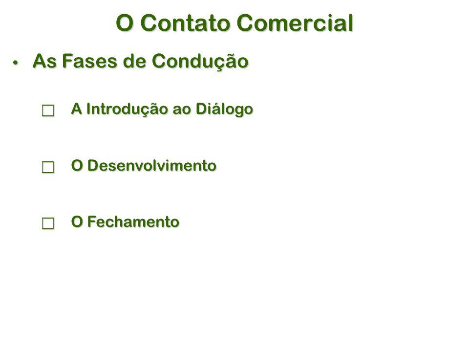 O Contato Comercial As Fases de Condução As Fases de Condução  A Introdução ao Diálogo  O Desenvolvimento  O Fechamento