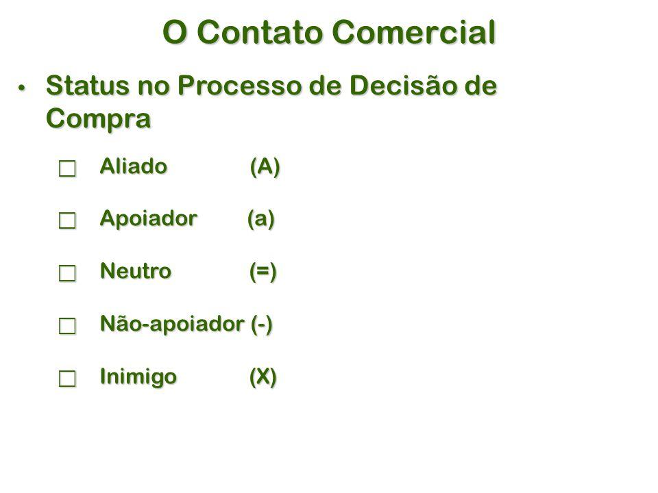 O Contato Comercial Status no Processo de Decisão de Compra Status no Processo de Decisão de Compra  Aliado (A)  Apoiador (a)  Neutro (=)  Não-apoiador (-)  Inimigo (X)