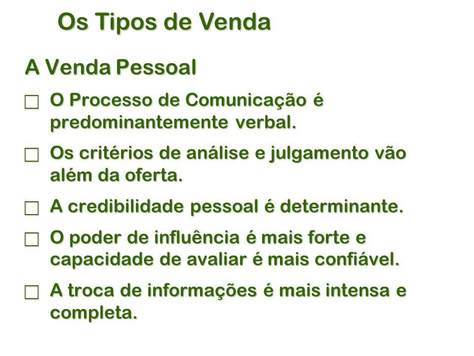 Os Tipos de Venda A Venda Pessoal  O Processo de Comunicação é predominantemente verbal.