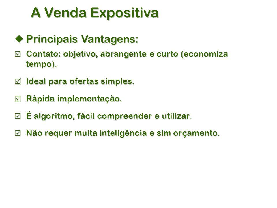 A Venda Expositiva  Principais Vantagens:  Contato: objetivo, abrangente e curto (economiza tempo).