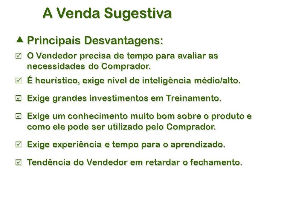 A Venda Sugestiva  Principais Desvantagens:  O Vendedor precisa de tempo para avaliar as necessidades do Comprador.