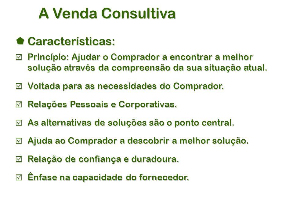 A Venda Consultiva  Características:  Princípio: Ajudar o Comprador a encontrar a melhor solução através da compreensão da sua situação atual.