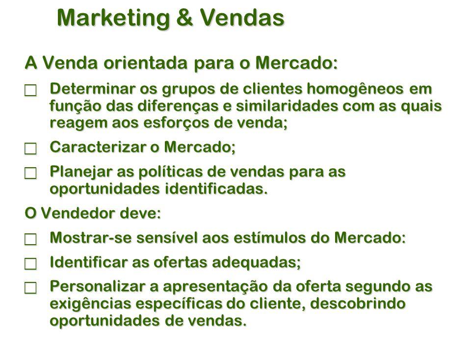 Marketing & Vendas A Venda orientada para o Mercado:  Determinar os grupos de clientes homogêneos em função das diferenças e similaridades com as quais reagem aos esforços de venda;  Caracterizar o Mercado;  Planejar as políticas de vendas para as oportunidades identificadas.