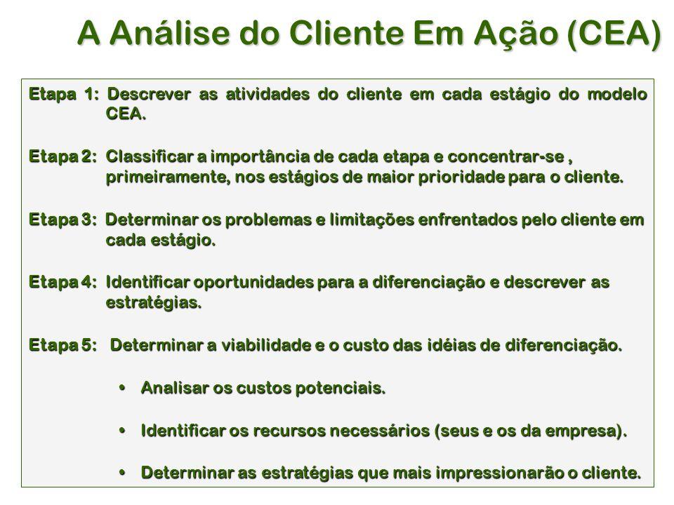 A Análise do Cliente Em Ação (CEA) Etapa 1: Descrever as atividades do cliente em cada estágio do modelo CEA.
