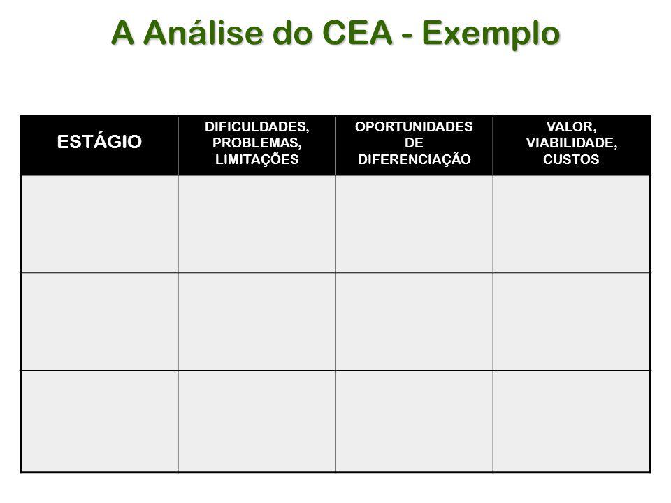 A Análise do CEA - Exemplo ESTÁGIO DIFICULDADES, PROBLEMAS, LIMITAÇÕES OPORTUNIDADES DE DIFERENCIAÇÃO VALOR, VIABILIDADE, CUSTOS