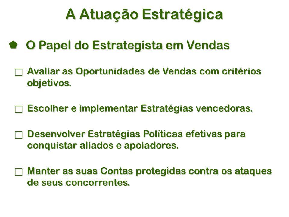 A Atuação Estratégica  Avaliar as Oportunidades de Vendas com critérios objetivos.
