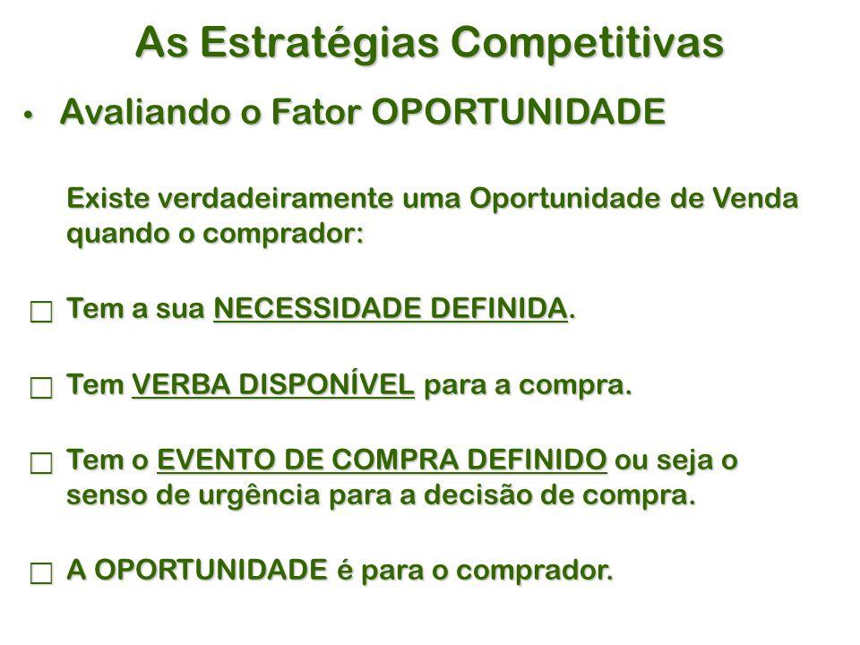 As Estratégias Competitivas Avaliando o Fator OPORTUNIDADE Avaliando o Fator OPORTUNIDADE Existe verdadeiramente uma Oportunidade de Venda quando o comprador:  Tem a sua NECESSIDADE DEFINIDA.
