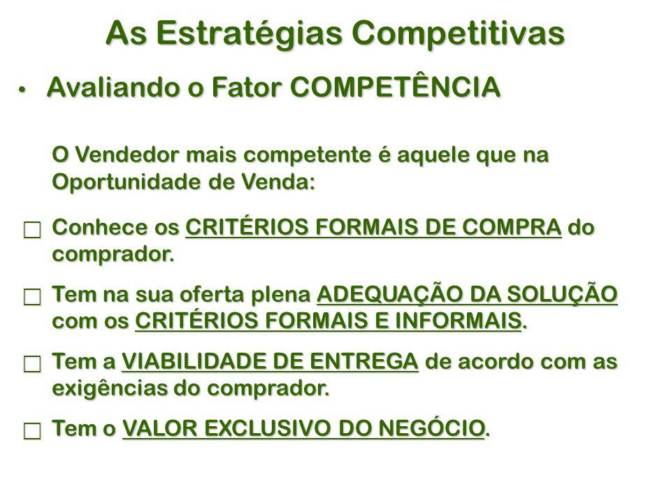 As Estratégias Competitivas Avaliando o Fator COMPETÊNCIA Avaliando o Fator COMPETÊNCIA O Vendedor mais competente é aquele que na Oportunidade de Venda:  Conhece os CRITÉRIOS FORMAIS DE COMPRA do comprador.