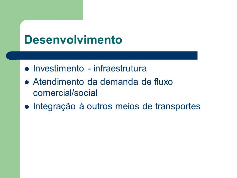 Desenvolvimento Investimento - infraestrutura Atendimento da demanda de fluxo comercial/social Integração à outros meios de transportes