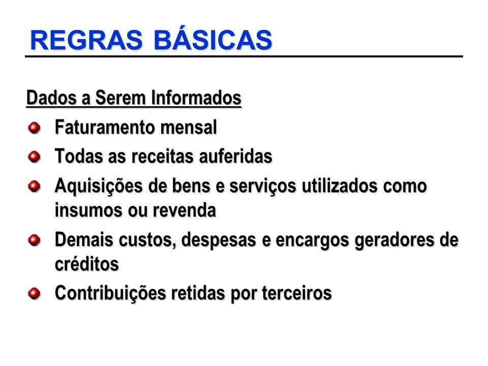 REGRAS BÁSICAS Dados a Serem Informados Faturamento mensal Todas as receitas auferidas Aquisições de bens e serviços utilizados como insumos ou revend