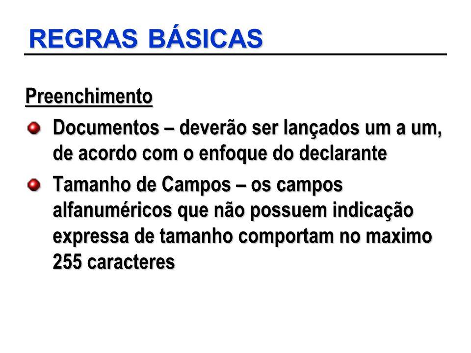 REGRAS BÁSICAS Preenchimento Documentos – deverão ser lançados um a um, de acordo com o enfoque do declarante Tamanho de Campos – os campos alfanuméri
