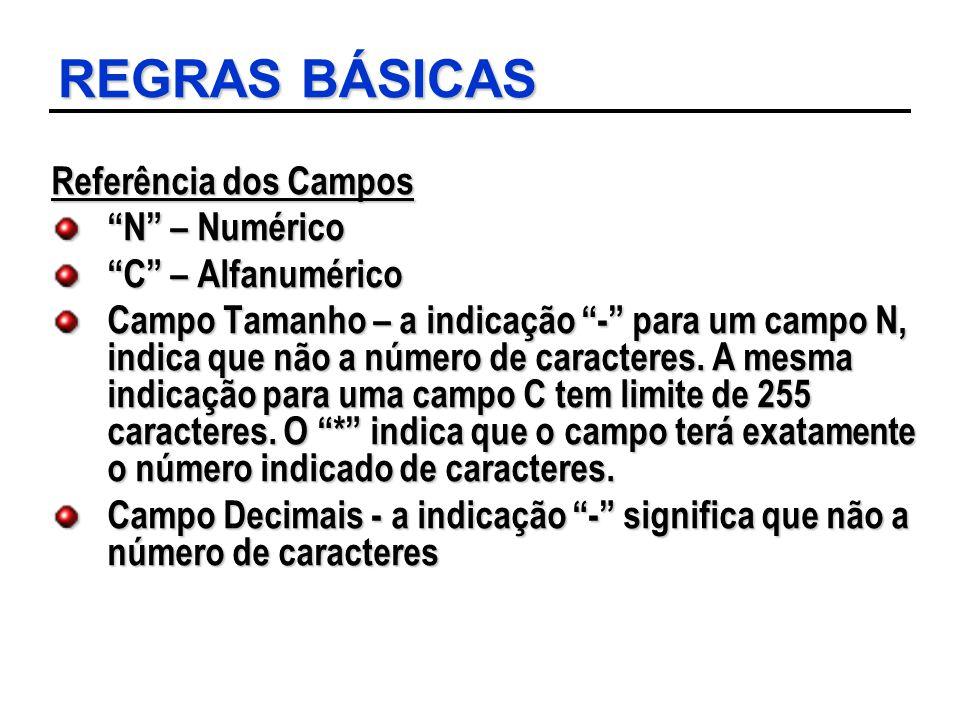 """REGRAS BÁSICAS Referência dos Campos """"N"""" – Numérico """"C"""" – Alfanumérico Campo Tamanho – a indicação """"-"""" para um campo N, indica que não a número de car"""
