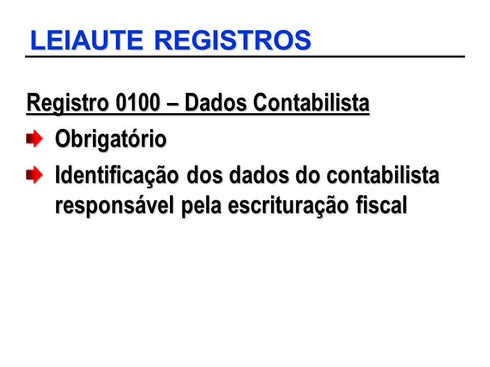 LEIAUTE REGISTROS Registro 0100 – Dados Contabilista Obrigatório Identificação dos dados do contabilista responsável pela escrituração fiscal