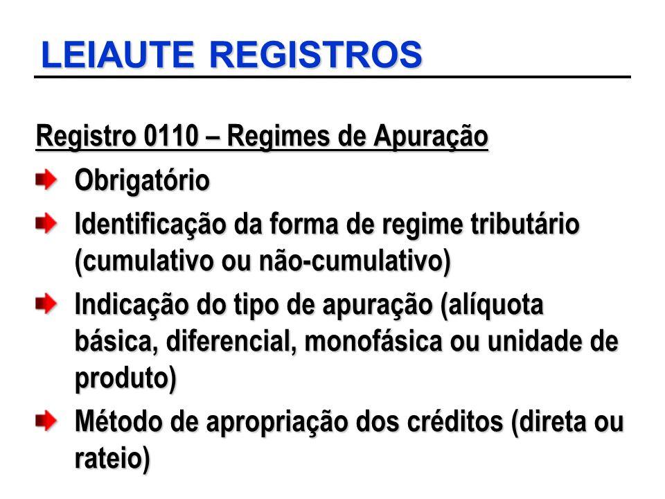 LEIAUTE REGISTROS Registro 0110 – Regimes de Apuração Obrigatório Identificação da forma de regime tributário (cumulativo ou não-cumulativo) Indicação