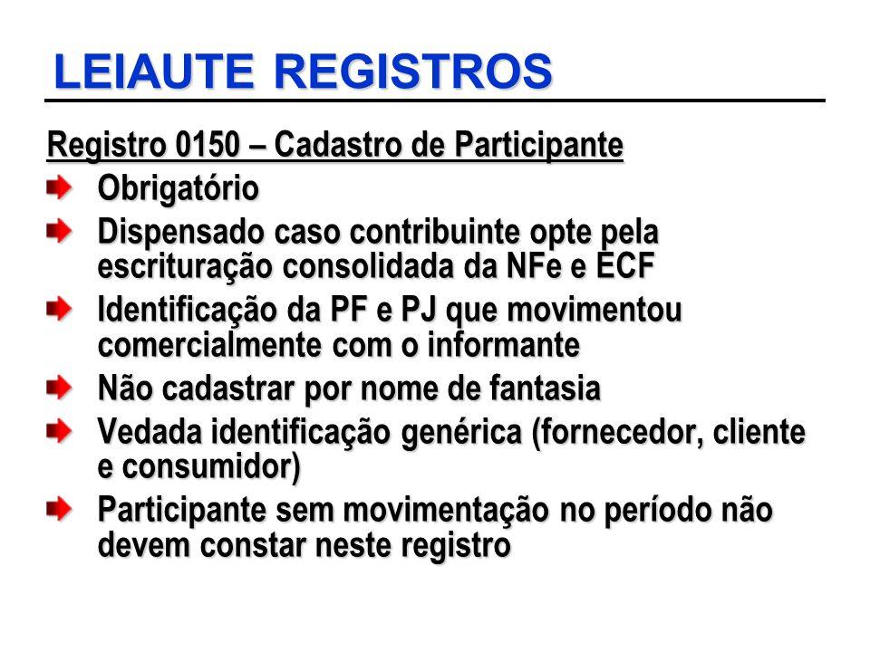 LEIAUTE REGISTROS Registro 0150 – Cadastro de Participante Obrigatório Dispensado caso contribuinte opte pela escrituração consolidada da NFe e ECF Id