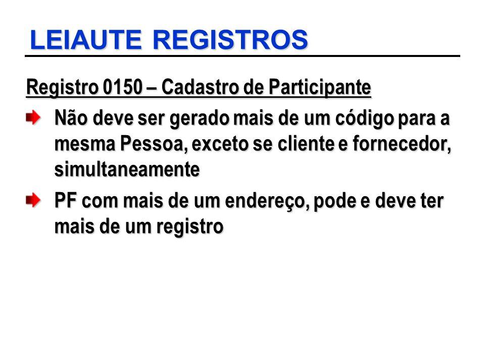 LEIAUTE REGISTROS Registro 0150 – Cadastro de Participante Não deve ser gerado mais de um código para a mesma Pessoa, exceto se cliente e fornecedor,