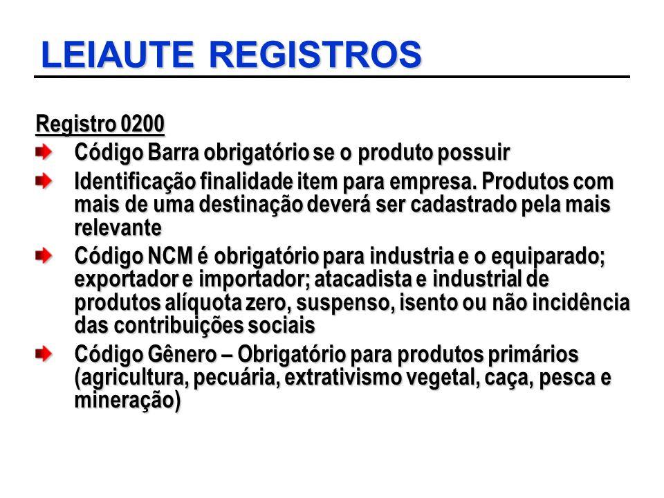 LEIAUTE REGISTROS Registro 0200 Código Barra obrigatório se o produto possuir Identificação finalidade item para empresa. Produtos com mais de uma des