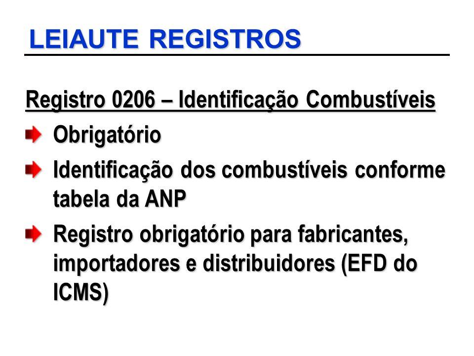 LEIAUTE REGISTROS Registro 0206 – Identificação Combustíveis Obrigatório Identificação dos combustíveis conforme tabela da ANP Registro obrigatório pa
