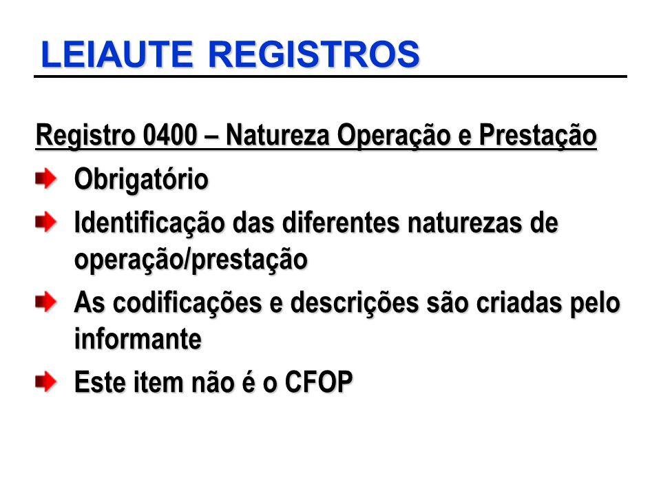 LEIAUTE REGISTROS Registro 0400 – Natureza Operação e Prestação Obrigatório Identificação das diferentes naturezas de operação/prestação As codificaçõ