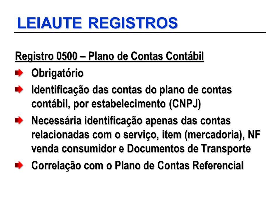 LEIAUTE REGISTROS Registro 0500 – Plano de Contas Contábil Obrigatório Identificação das contas do plano de contas contábil, por estabelecimento (CNPJ