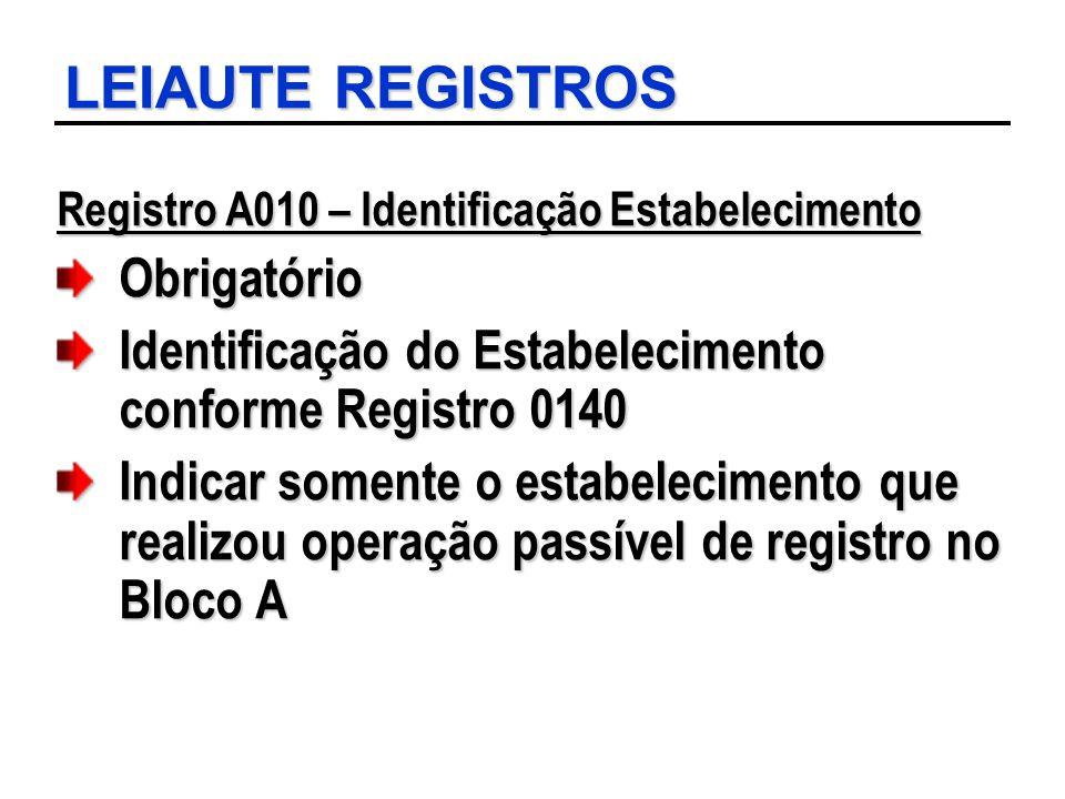 LEIAUTE REGISTROS Registro A010 – Identificação Estabelecimento Obrigatório Identificação do Estabelecimento conforme Registro 0140 Indicar somente o