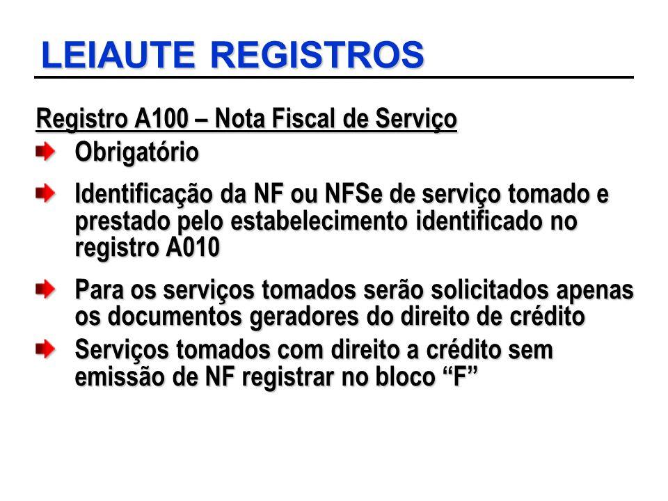LEIAUTE REGISTROS Registro A100 – Nota Fiscal de Serviço Obrigatório Identificação da NF ou NFSe de serviço tomado e prestado pelo estabelecimento ide