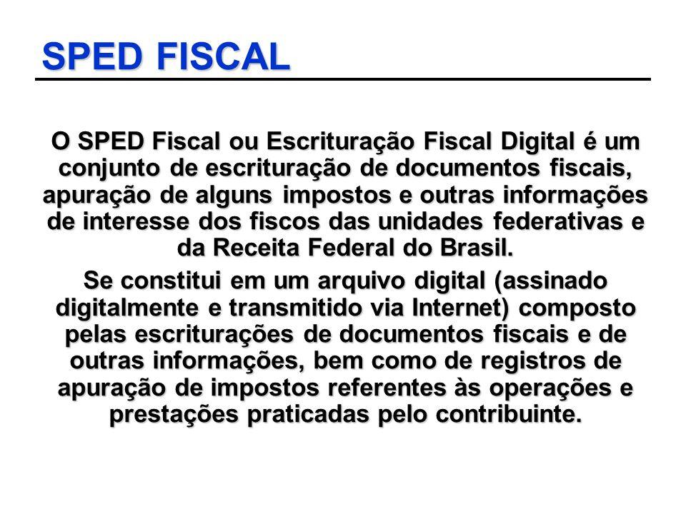 SPED FISCAL O SPED Fiscal ou Escrituração Fiscal Digital é um conjunto de escrituração de documentos fiscais, apuração de alguns impostos e outras inf