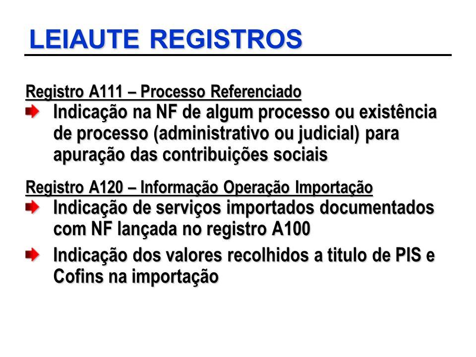 LEIAUTE REGISTROS Registro A111 – Processo Referenciado Indicação na NF de algum processo ou existência de processo (administrativo ou judicial) para