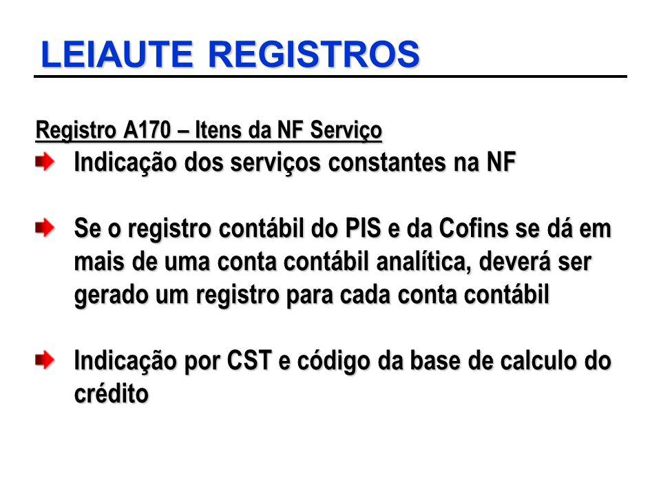 LEIAUTE REGISTROS Registro A170 – Itens da NF Serviço Indicação dos serviços constantes na NF Se o registro contábil do PIS e da Cofins se dá em mais