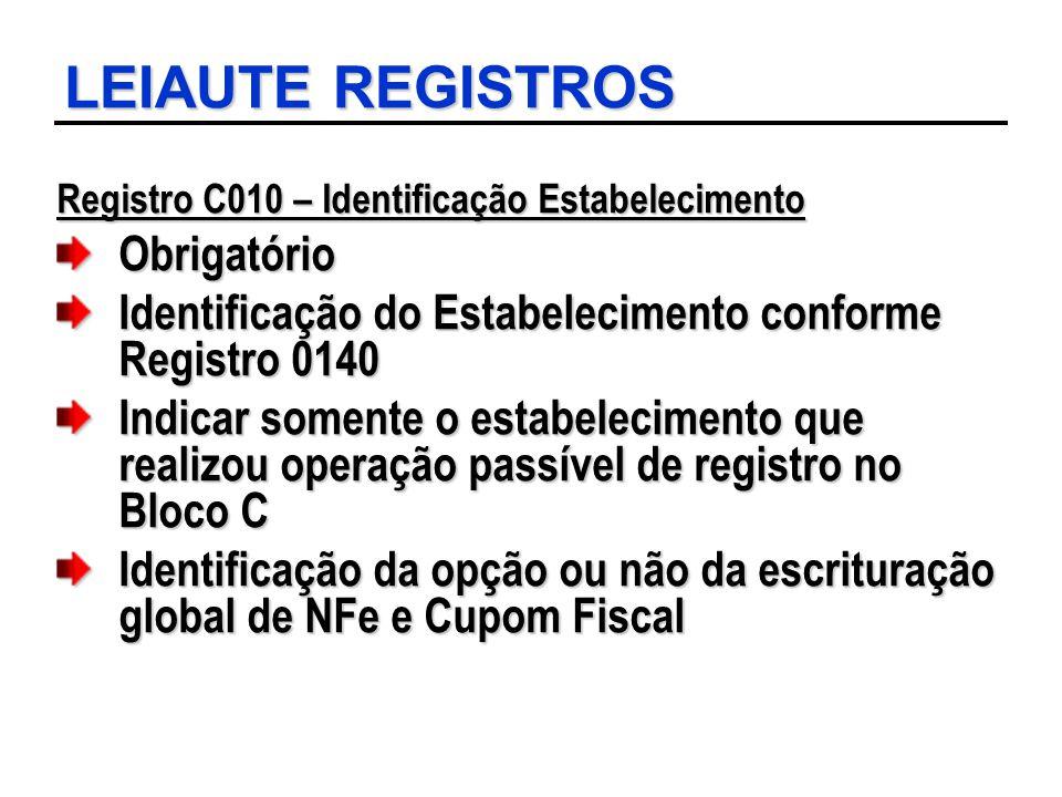 LEIAUTE REGISTROS Registro C010 – Identificação Estabelecimento Obrigatório Identificação do Estabelecimento conforme Registro 0140 Indicar somente o