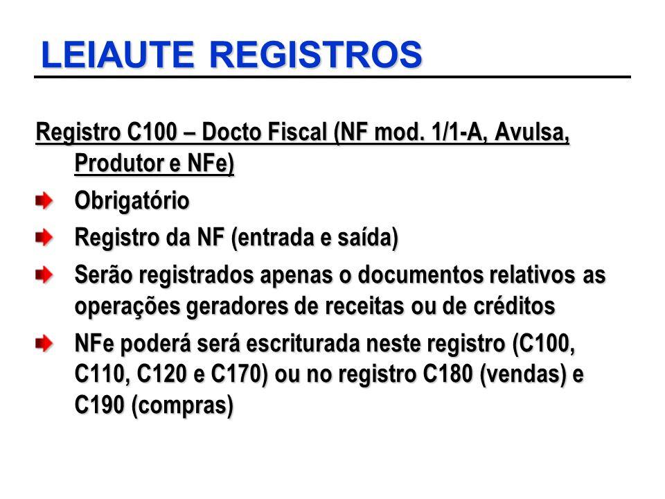 LEIAUTE REGISTROS Registro C100 – Docto Fiscal (NF mod. 1/1-A, Avulsa, Produtor e NFe) Obrigatório Registro da NF (entrada e saída) Serão registrados