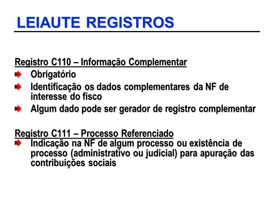 LEIAUTE REGISTROS Registro C110 – Informação Complementar Obrigatório Identificação os dados complementares da NF de interesse do fisco Algum dado pod
