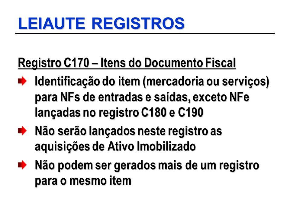 LEIAUTE REGISTROS Registro C170 – Itens do Documento Fiscal Identificação do item (mercadoria ou serviços) para NFs de entradas e saídas, exceto NFe l
