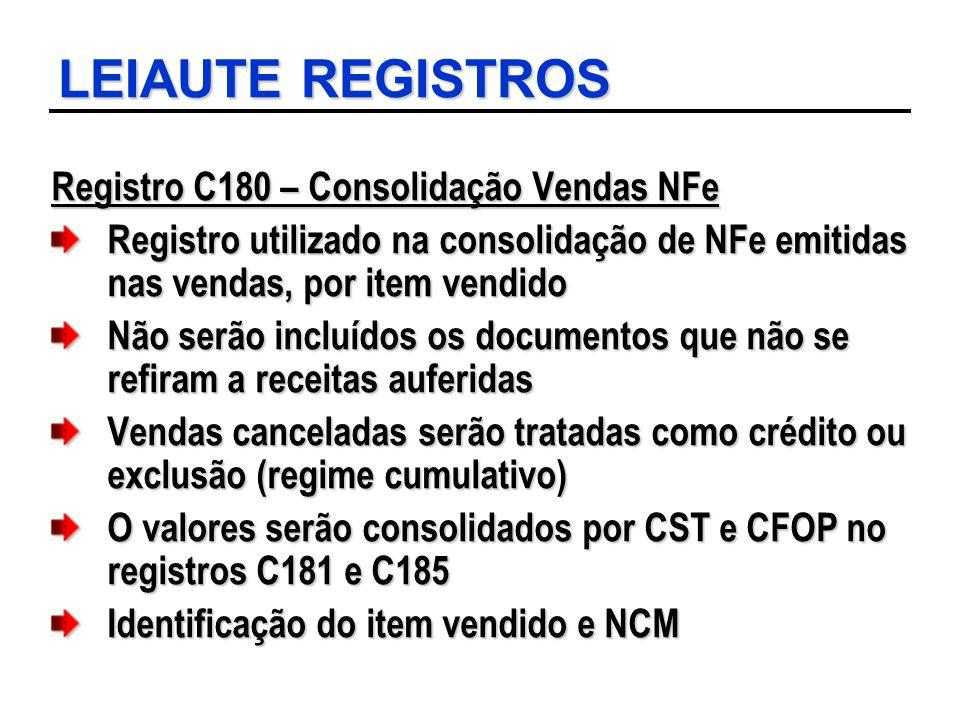 LEIAUTE REGISTROS Registro C180 – Consolidação Vendas NFe Registro utilizado na consolidação de NFe emitidas nas vendas, por item vendido Não serão in