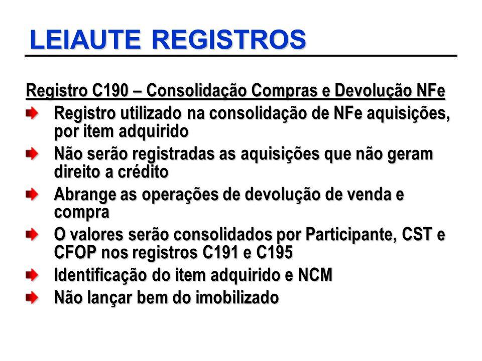 LEIAUTE REGISTROS Registro C190 – Consolidação Compras e Devolução NFe Registro utilizado na consolidação de NFe aquisições, por item adquirido Não se