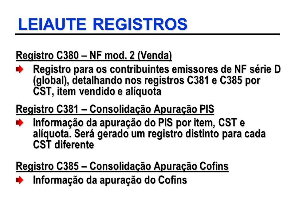 LEIAUTE REGISTROS Registro C380 – NF mod. 2 (Venda) Registro para os contribuintes emissores de NF série D (global), detalhando nos registros C381 e C