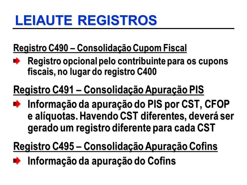 LEIAUTE REGISTROS Registro C490 – Consolidação Cupom Fiscal Registro opcional pelo contribuinte para os cupons fiscais, no lugar do registro C400 Regi