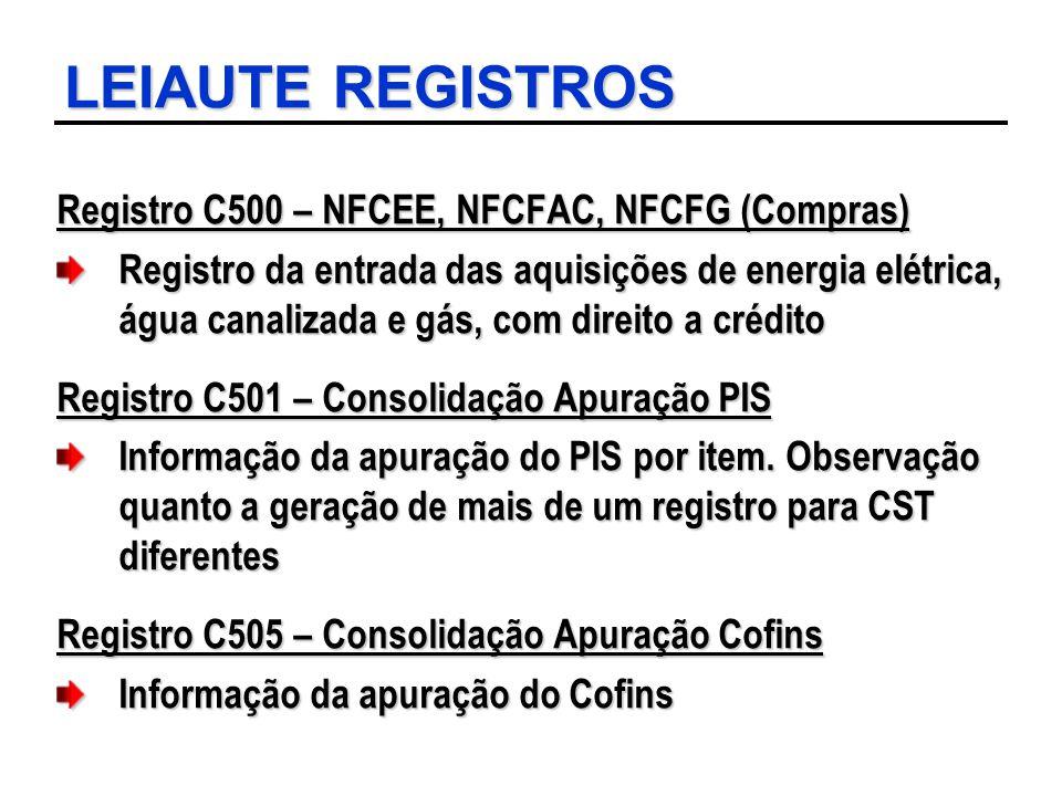 LEIAUTE REGISTROS Registro C500 – NFCEE, NFCFAC, NFCFG (Compras) Registro da entrada das aquisições de energia elétrica, água canalizada e gás, com di