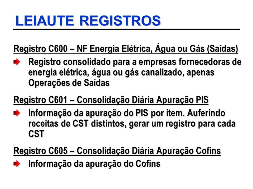 LEIAUTE REGISTROS Registro C600 – NF Energia Elétrica, Água ou Gás (Saídas) Registro consolidado para a empresas fornecedoras de energia elétrica, águ