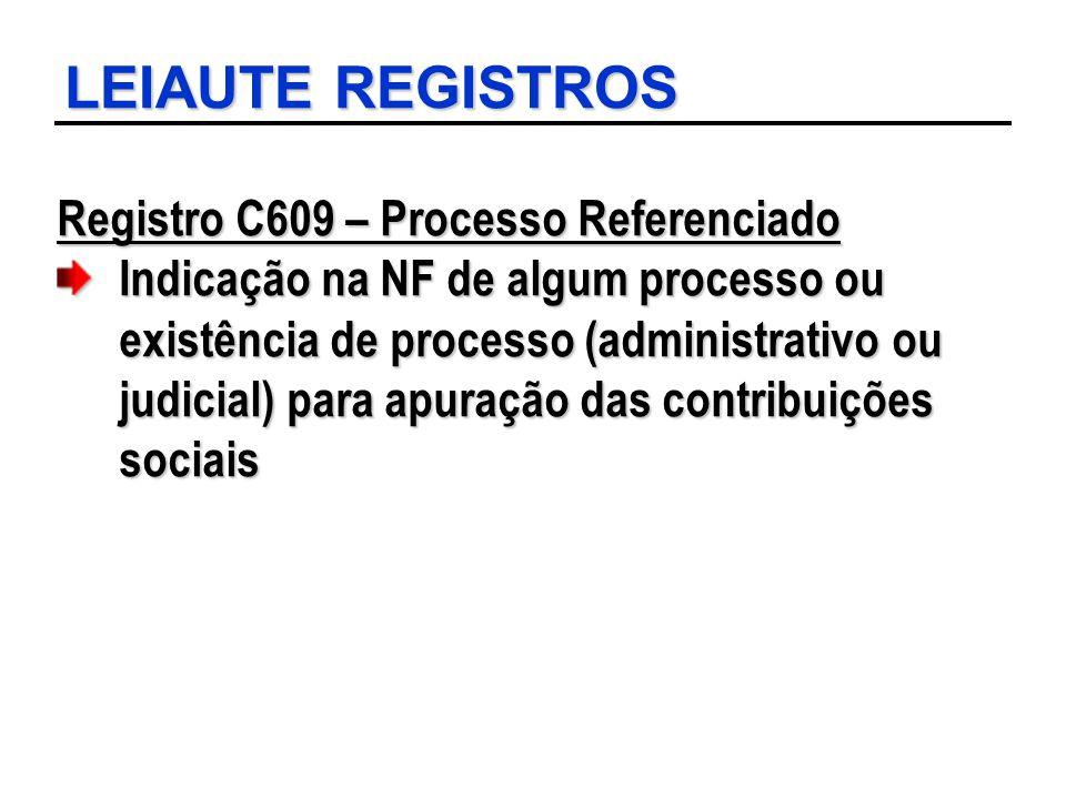 LEIAUTE REGISTROS Registro C609 – Processo Referenciado Indicação na NF de algum processo ou existência de processo (administrativo ou judicial) para