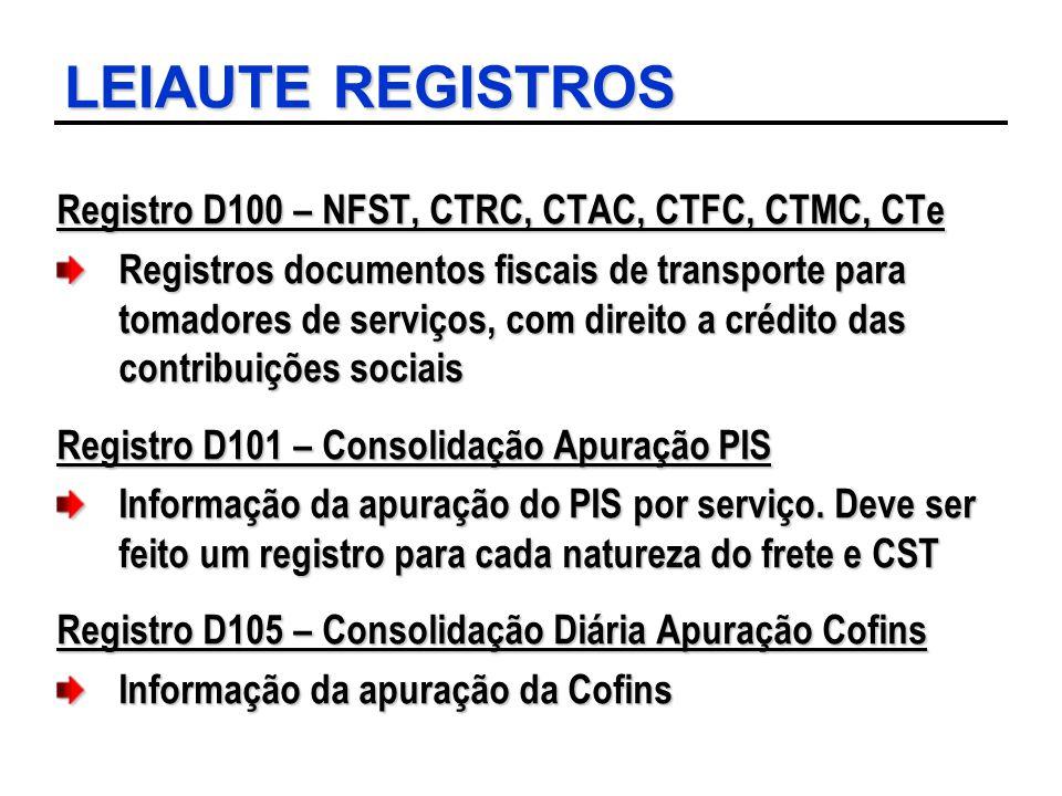 LEIAUTE REGISTROS Registro D100 – NFST, CTRC, CTAC, CTFC, CTMC, CTe Registros documentos fiscais de transporte para tomadores de serviços, com direito
