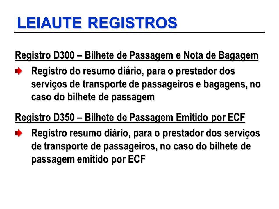 LEIAUTE REGISTROS Registro D300 – Bilhete de Passagem e Nota de Bagagem Registro do resumo diário, para o prestador dos serviços de transporte de pass
