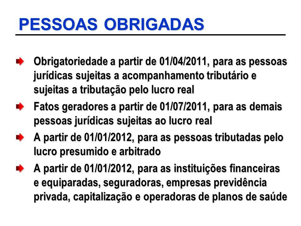 PESSOAS OBRIGADAS Obrigatoriedade a partir de 01/04/2011, para as pessoas jurídicas sujeitas a acompanhamento tributário e sujeitas a tributação pelo