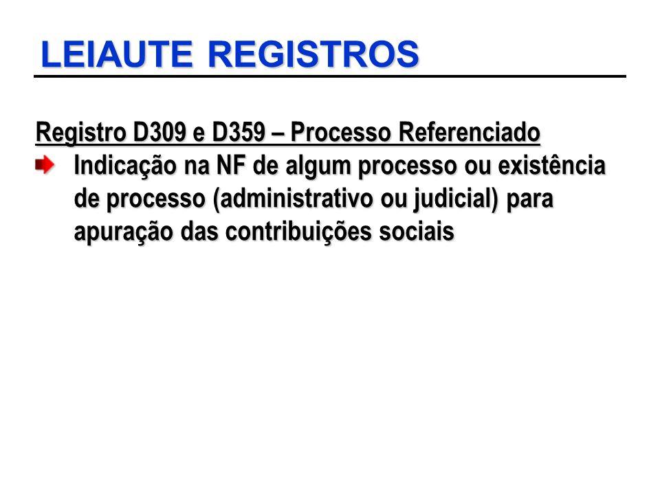 LEIAUTE REGISTROS Registro D309 e D359 – Processo Referenciado Indicação na NF de algum processo ou existência de processo (administrativo ou judicial