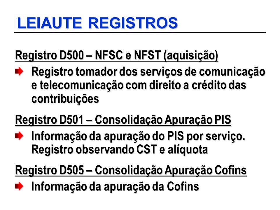 LEIAUTE REGISTROS Registro D500 – NFSC e NFST (aquisição) Registro tomador dos serviços de comunicação e telecomunicação com direito a crédito das con